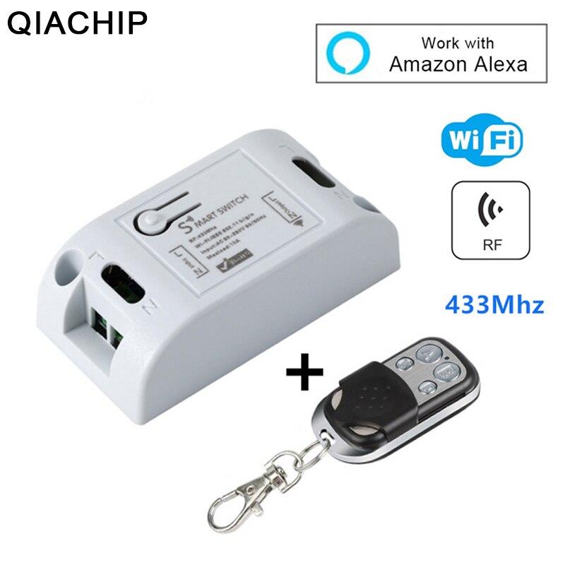 QIACHIP RF inalámbrico WiFi inteligente casa receptor módulo 433 Mhz110V 220 V luz de Control remoto interruptor funciona con Amazon alexa