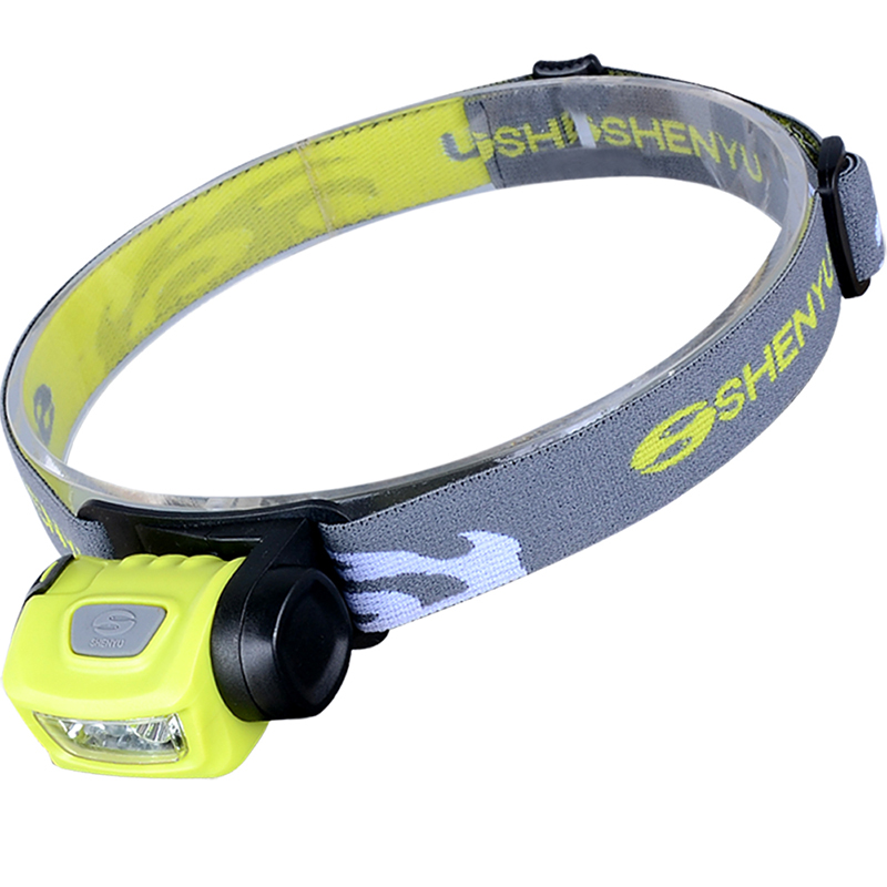 SHENYU Headlamp LED, 3 Modes Headlight, Battery Powered Helmet Light for Camping, Running, Hiking and Reading