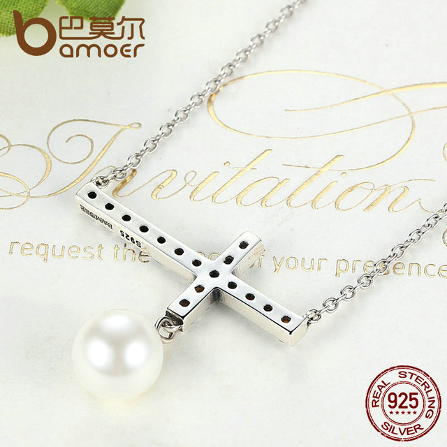 Sterling Silver Fashion Cross Pendant Necklace