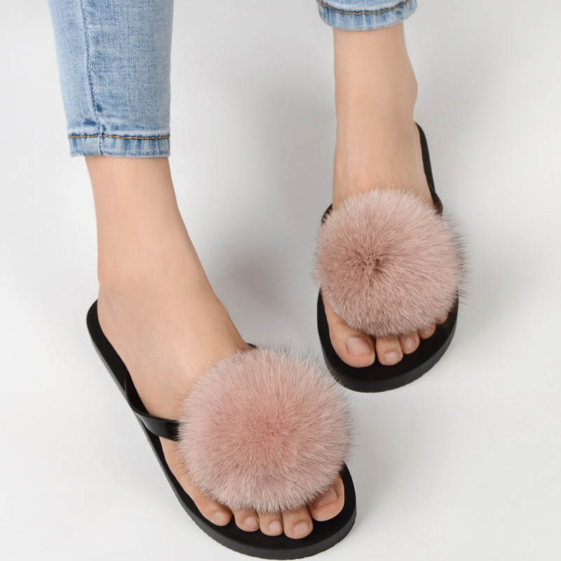 women slippers fox fur pompom (11)