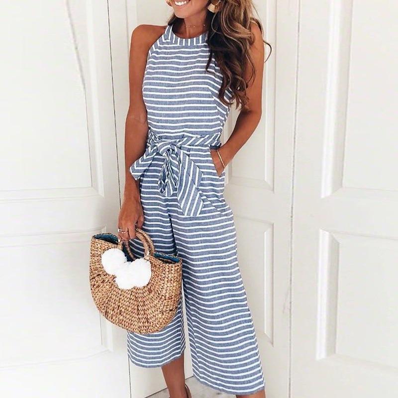 Ladies Womens Summer Jumpsuit Halterneck Clubwear Wide Leg Pant Stripe Outfits With Belt Sleeveless Fashion Beach Leotard