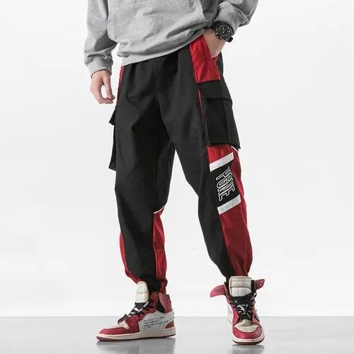 Men High Street Loose Casual Splice Cargo Pants Male Streetwear Hip Hop Harem Trouseres Joggers Sweatpants Plus Size M-5XL