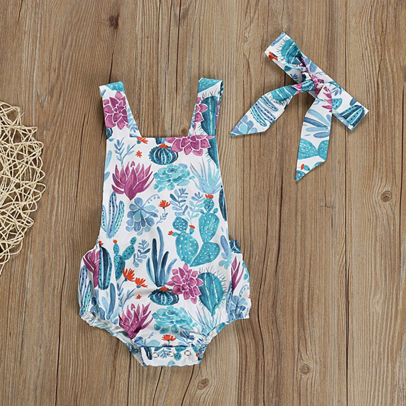 2PCS Summer Newborn Girls   Rompers   Set Baby Girl Summer Clothes Set Floral Print Sleeveless Jumpsuit With Headband