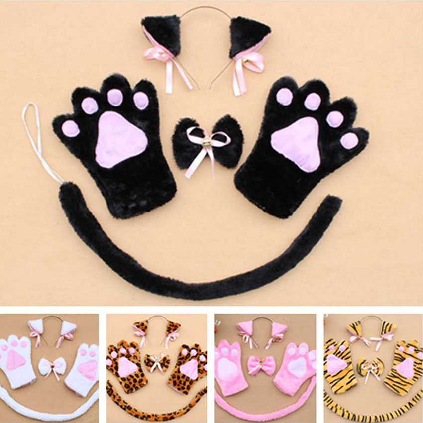 Anime Cosplay Cat Neko Hairbands With Ears, Paws And Tail 1