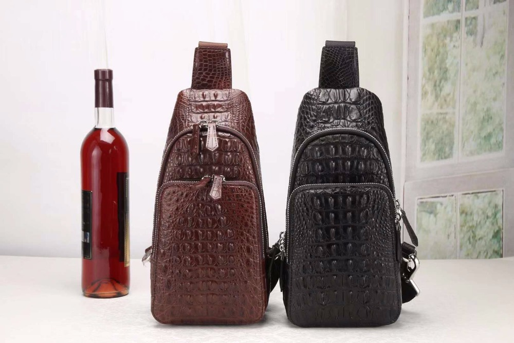 High End 100% Genuine Crocodile Leather Head Skin Men Shoulder Bag Aligator Leather Skin Men Leisure Cross Body Bag Free Ship