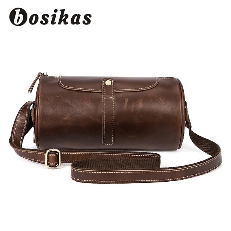 Здесь продается  BOSIKAS Shoulder Bag Genuine Leather Messenger bag Barrel-shaped Crossbody High Guality Men