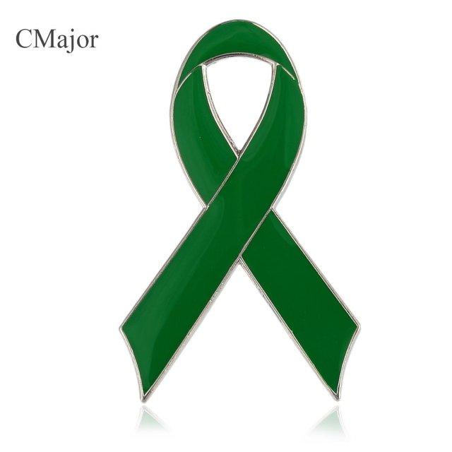 cmajor enamel green ribbon badge lapel pin brooch for childhood