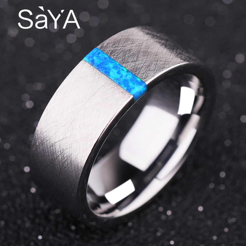 2018 New Arrival Unisex 8mm Width Silver Color Tungsten Carbide Wedding Ring with Luxurious Opals Brushed