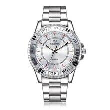 Skone de primeras marcas de lujo reloj hombres fecha día para hombre relojes hombres plata acero inoxidable de cuarzo reloj de pulsera para hombre Montre Homme
