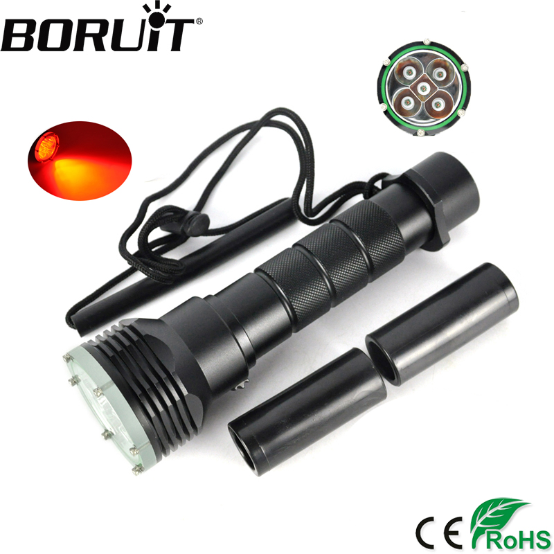 BORUiT 620nm 5 XPE Red LED Scuba Diving Flashlight Underwater 200M Torch Red Diver Torch Portable Lantern by 18650 Battery boruit 10000lm underwater 200m flashlight 5 xml l2 led scuba diving flash light torch lantern 18650 or 26650 battery