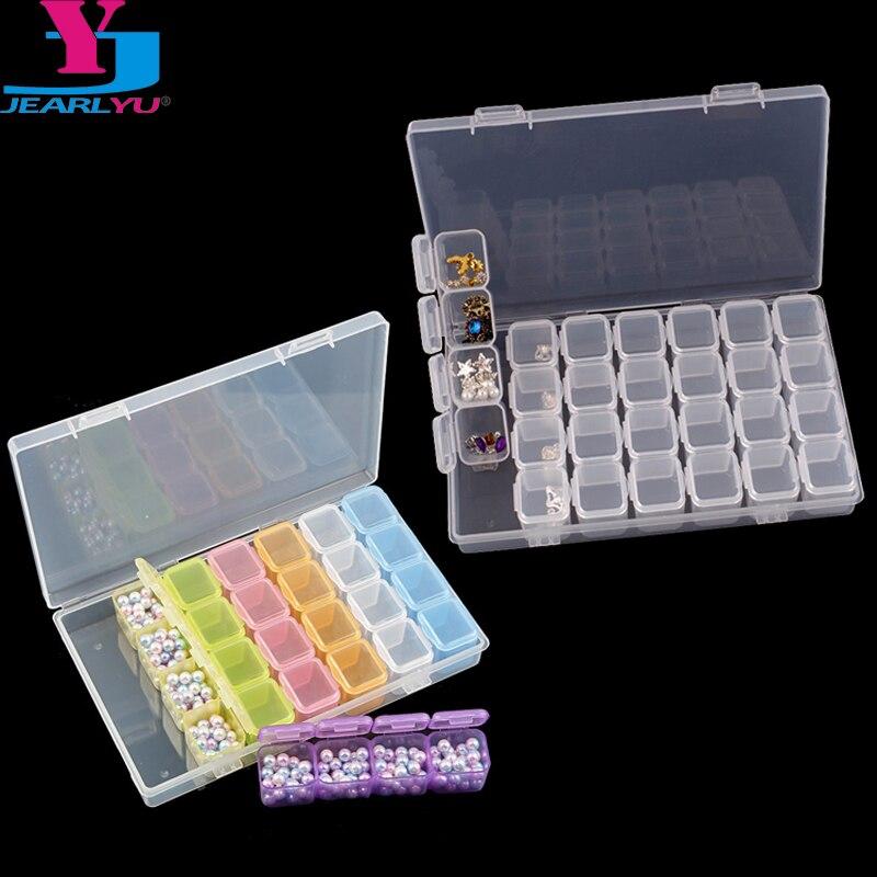 28 сетка для хранения ювелирных изделий, стразы для дизайна ногтей, декоративные отсеки для хранения, цветная прозрачная пластиковая раздел...