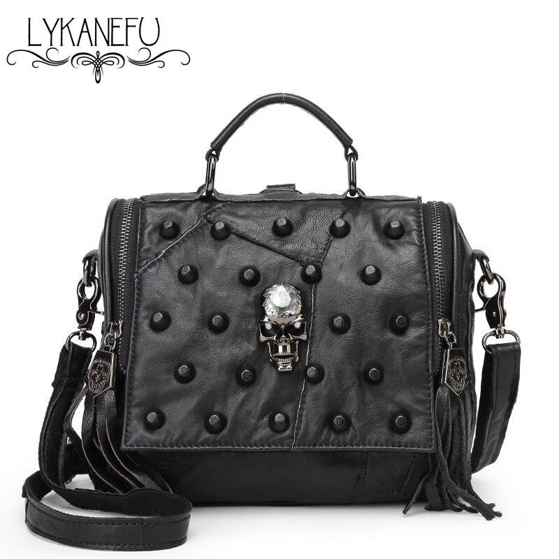 LYKANEFU Real Split Leather Bag Women Messenger Bags Tote Purse Handbag Rivet Skull Bag Crossbody Bolsas