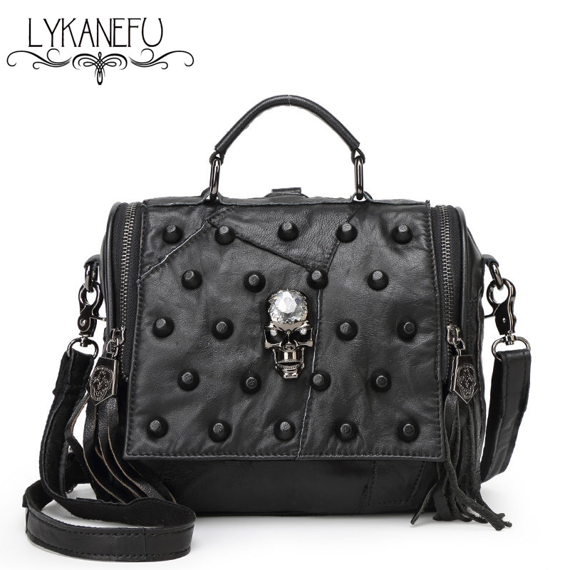 LYKANEFU Real Split Leather Bag Women Messenger Bags Tote Purse Handbag Rivet Skull Bag Crossbody Bolsas Femininas Dollar Price lykanefu fashion black rock skull bag women messenger bags designer handbag clutch purse bag bolsas femininas couro dollar price