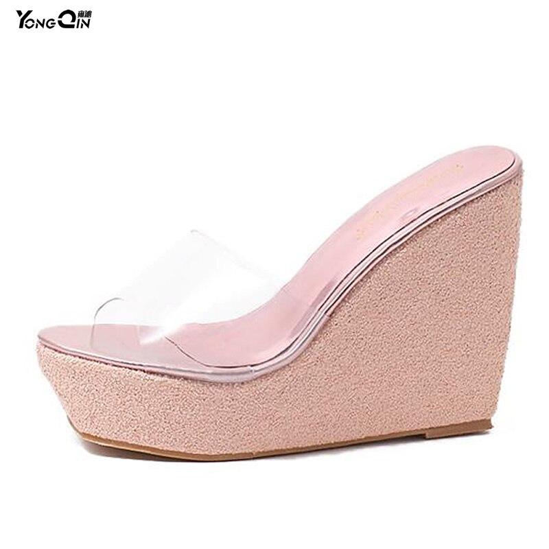 brand new 10196 cda8b US $22.99  2017 Estate Spiaggia Trasparente Pantofole Donna Sandali Con  Zeppa Infradito Lady Slipper Shoes 5 Colori-in Pantofole da Scarpe su ...