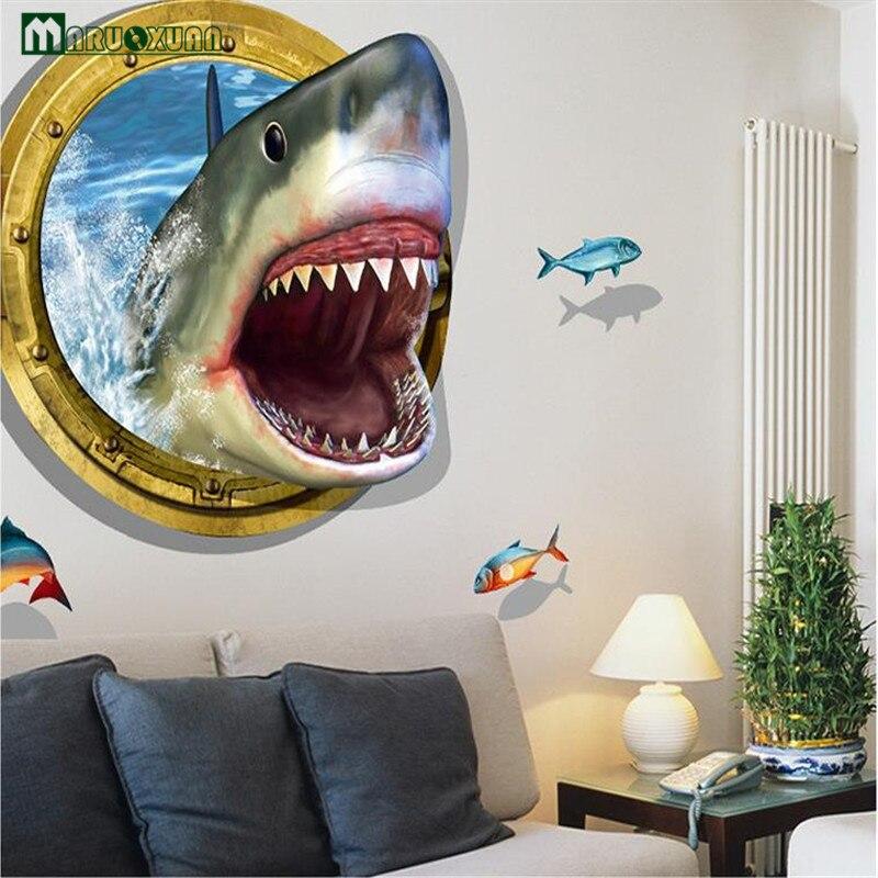 YunXi 3D Unterwasser Fierce Shark Aufkleber Wohnzimmer Schlafzimmer Sofa Badezimmer Dekoration Kreative Hintergrund WandaufkleberChina