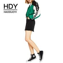 HDY Haoduoyi женское лоскутное пальто на молнии с отложным воротником с буквенным карманом осеннее свободное повседневное пальто в консервативном стиле