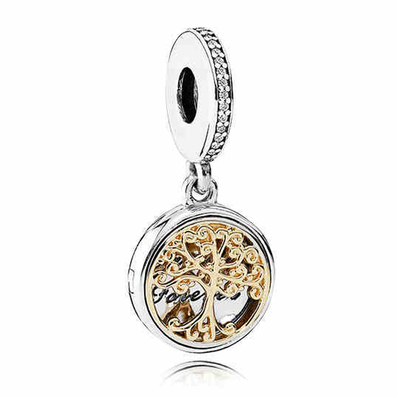 Authentic 925 Sterling Silver Bead Charm Gold Family Roots two-tone locket Pendant Bead Fit Pandora Bracelet Diy Jewelry locket