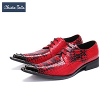 Christia Bella Fashion Snake Pattern Men Oxford Shoes Rivet Pointed Toe Derby Shoes Party Wedding Lace Up Men Dress Shoes Red