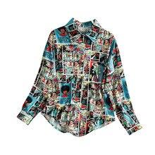 NiceMix Print Retro Cartoon Women Shirt Single Breasted Long Sleeve Blouse 2019 Spring Summer Fashion Music Festival New Blusa