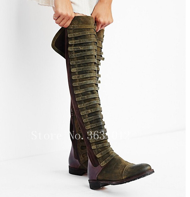 2018 New Fashion Winter Thigh High Boots Green Patchwork Suede Flats Over The Knee Boots Cowboy Vintage Long Shoes Narrow Band 2018 new fashion winter thigh high boots green patchwork suede flats over the knee boots cowboy vintage long shoes narrow band