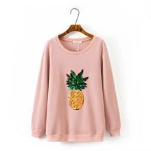 S52 Autumn Casual Sweatshirts 4XL Plus size Women clothing Tops fashion Loose sequins pineapple Hoody 170026(China)