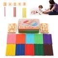 Lo nuevo Divertido Niños Educativo Juego De Madera Número de Conteo Contador de Aprendizaje Temprano 100 Stick/caja de Bloques de Juguete Para Niños Del Bebé