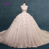 Melice Gorgeous Appliques Beaded Flowers Ball Gown Wedding Dress 2018 Strapless Lace Up Princess Bridal Dress