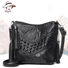 2018 Brand Genuine Leather Black Rivet Women Messenger Bag Tassel Crossbody Tote Hand Bag Flap Vintage Sheepskin Shoulder Bolsas