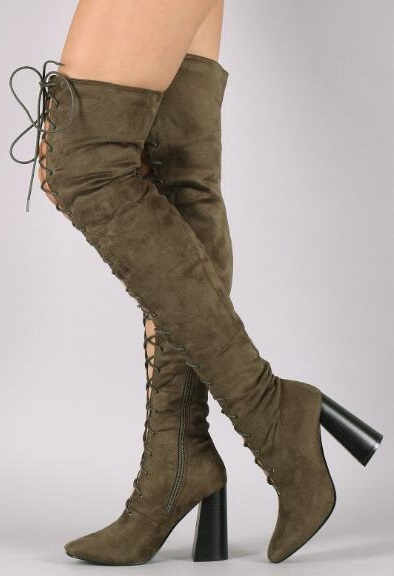 Drop Shipping Woman Brand Army Green/Black/Nude/Brown Solid Color Cuts Out Cross Lace Up Front Rough Heels Over The Knee BootsDrop Shipping Woman Brand Army Green/Black/Nude/Brown Solid Color Cuts Out Cross Lace Up Front Rough Heels Over The Knee Boots