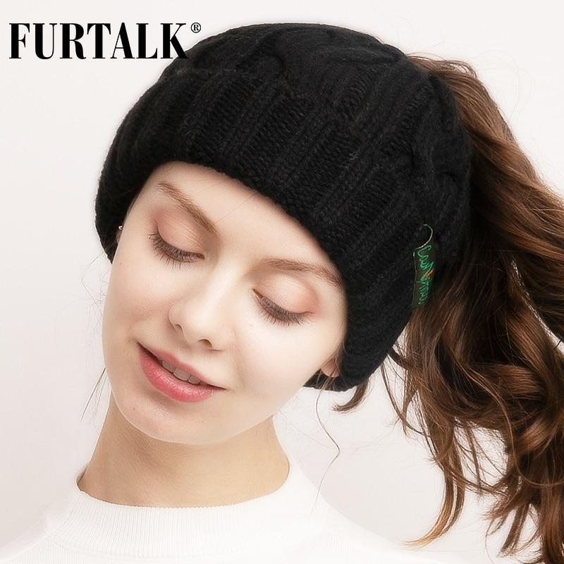 Ponytail Beanie Hat Winter Women Messy Bun Beanie Soft Knitted Skullies for Sports Ladies Autumn Winter Stretchy Knit Cap