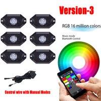 6 стручков rgb светодиодные фары Рок Multi Цвет с Bluetooth App Управление Жгуты проводки и переключатель противотуманные света для бездорожья лодка