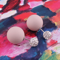 Top New Material Shining Full Crystal Double Sides Pearl Stud Earrings Rubber Double Ball Bead Stud Earrings For Women Brincos 3
