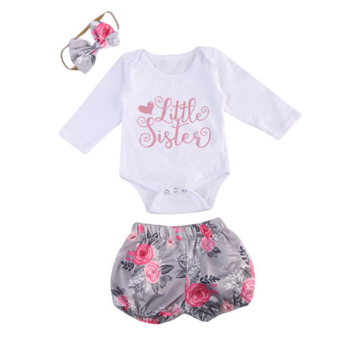 3PCS Newborn Baby Girls Clothes Rompers Jumpsuit+Floral Shorts Pants Outfit Set Summer Kids Girls Letters Print Clothing Set