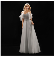 Do Dower Sexy Boat Neck Sling Host Banquet Evening Dress Noble Classic Beading Slim Party Meeting Long Evening Gown Vestidos L