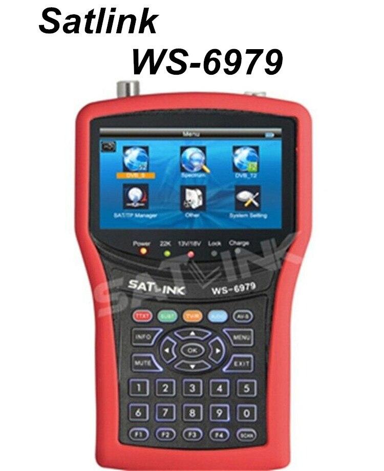 100% D'origine Satlink WS-6979 DVB-S2 et DVB-T2 MPEG4 HD COMBO + Spectre Mètre Satellite Finder 4.3 pouce TFT LCD Écran