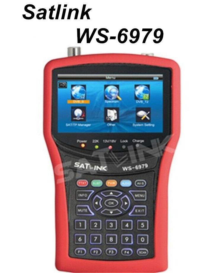 100% Original Satlink WS-6979 DVB-S2&DVB-T2 MPEG4 HD COMBO + Spectrum Satellite Meter Finder 4.3 inch TFT LCD Screen