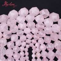 Free Shipping 6 8 10 12 14 16 18mm Cube Faceted Rose Quartz Spacer Beads For