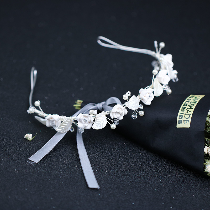 New Pearl Bridal Headdress White Leaf Crystal Flower Headband Wedding Headband Bridal Wreath Wedding Accessories Garland 2019