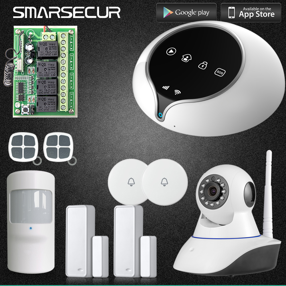 Wireless GSM Android IOS APP Home Burglar Security Alarm System HD IP Camera 720p Intelligence Motion sensor kerui w2 wifi gsm home burglar security alarm system ios android app control used with ip camera pir detector door sensor