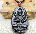 40x62mm Chinese Black Natural Obsidian Carved The eight patron saint akasagarbha jade pendant lucky necklace