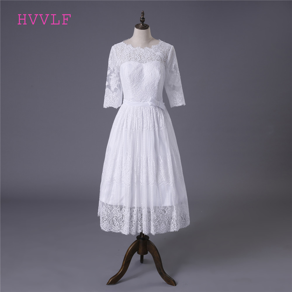 Short Vestido De Noiva 2019 Beach Wedding Dresses A-line Half Sleeves Tea Length Lace Boho Cheap Wedding Gown Bridal Dresses