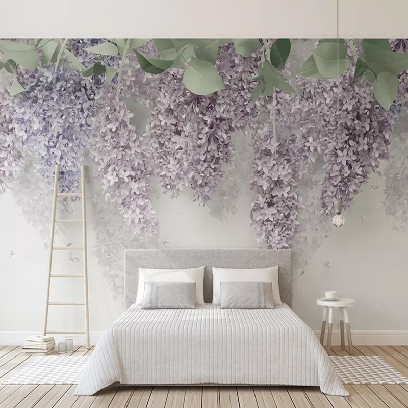 Photo Wallpaper 3D Purple Wisteria Flower Murals Wedding House Living Room Romantic Home Decor Wall Paper For Walls 3D Frescoes