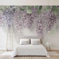 Photo Wallpaper 3D Purple Wisteria Flower Murals Wedding House Living Room Romantic Home Decor Wall Paper For Walls 3D Frescoes