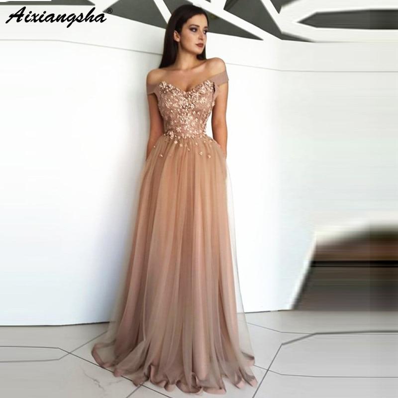 Champagne Muslim   Evening     Dress   2019 A-line Off The Shoulder Tulle Lace abiye Dubai Saudi Arabic Long   Evening   Gown Prom   Dresses