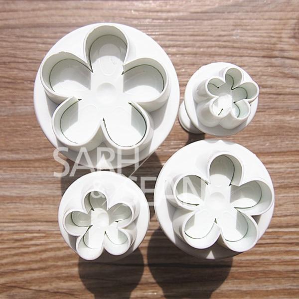 Slh185 plum flower fondant galletas herramientas de cocina de la magdalena de la