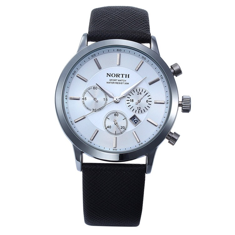 North Quartz Watch White Dial Sport Leather Strap