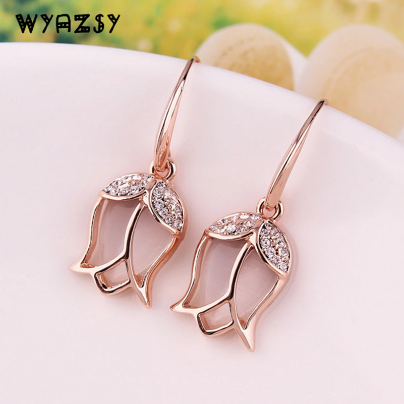 Fashion Crystal Tulip Drop Earrings For Women Holiday Gifts Rose Gold 2 Colors Wedding Jewelry Bride Accessories Hot Rose shape