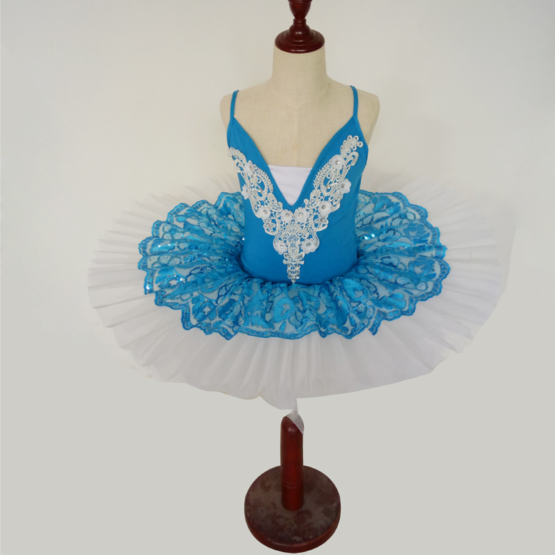 Adulte Ballet justaucorps paillettes robe professionnelle Tutu Ballet vêtements pour enfants fille dentelle danse robe femmes patinage Costumes B-6442