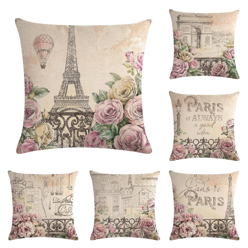 Hot Selling Romantic Paris Series Pillow Cover Automobile