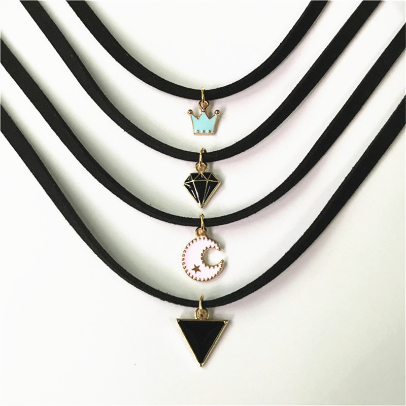 Hot sale retro gothic choker necklace collar punk black velvet suede women short necklace chain jewelry Bijoux wholesale cheap